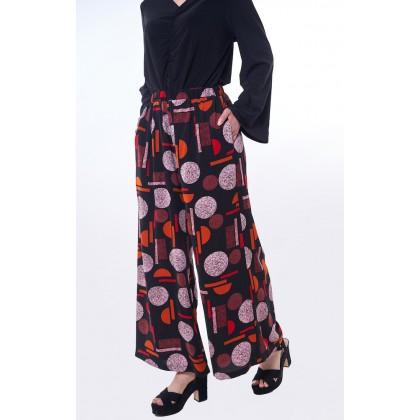 [MILA-MIYA] Casual Palazzo Trousers With Printed Polka Dots And Side Pockets