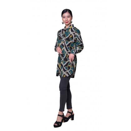 [MILA-MIYA] Geometric Print Button Tunic Blouse - Forest Green