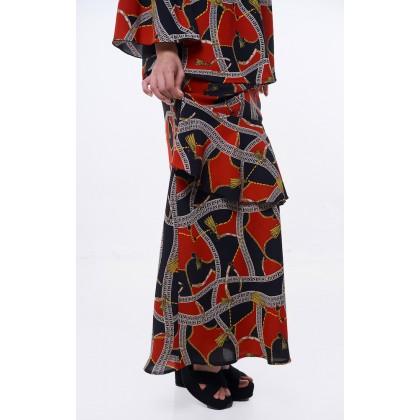 [MILA-MIYA] Geometric Print Kurung Modern Flared Sleeves Blouse & Ruffle Mermaid Skirt - Red
