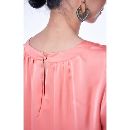 [MILA-MIYA] Frill Hem Sleeves Top - Peach