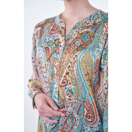 [MILA-MIYA] Esprit Paisley Print V-neck Tunic Top - Sky Blue