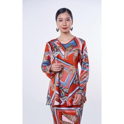 [MILA-MIYA] Pasley Print Kurung Modern V-neck Blouse & Mermaid Skirt - Scarlet
