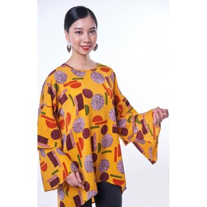 [MILA-MIYA] Printed Irregular Tunic With Double Layer Sleeves - Yellow
