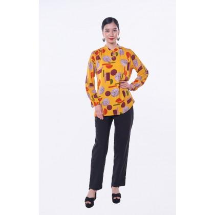 [MILA-MIYA] Printed Mandarin Collar Top - Yellow