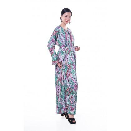 [MILA-MIYA] Paisley Print Waist Tie Maxi Dress - Turquoise