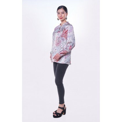 [MILA-MIYA] Tropical Print Mandarin Collar Top - Light Pink & Blue