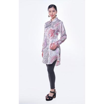 [MILA-MIYA] Tropical Print Overlay Button Tunic - Light Pink & Blue