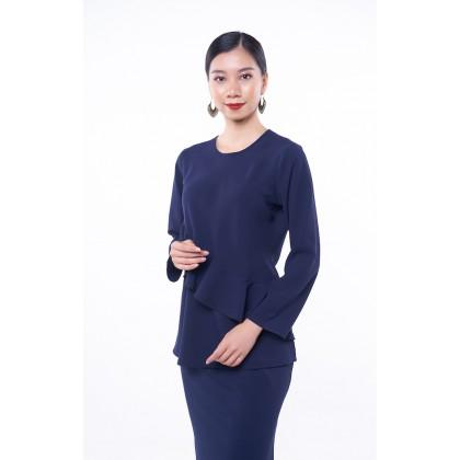 [MILA-MIYA] Kurung Modern Ruffle Blouse & Mermaid Skirt - Navy Blue