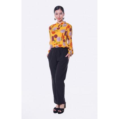 [MILA-MIYA] Elastic Mid Rise Knit Long Pants With Side Pockets - Black