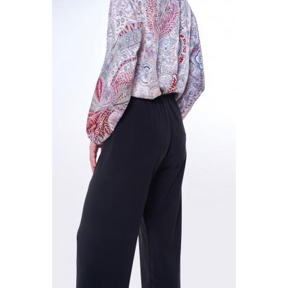 [MILA-MIYA] Elastic Mid Rise Basic Knit Long Pants - Black