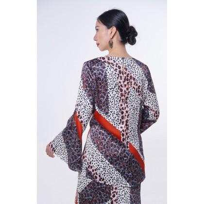 [MILA-MIYA] Mixed Leopard Print Kurung Mordern Flared Sleeves Blouse & Mermaid Skirt