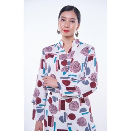 [MILA-MIYA] Printed V-collar With Double Layer Sleeves Blouse & Long Pants - White