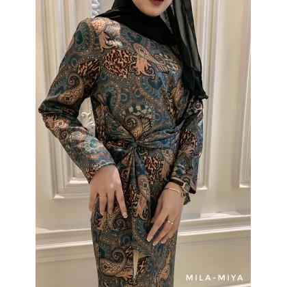 [MILA-MIYA] Pasley Print Kurung Modern Pleated Tie Blouse & Mermaid Skirt- Cadet Blue