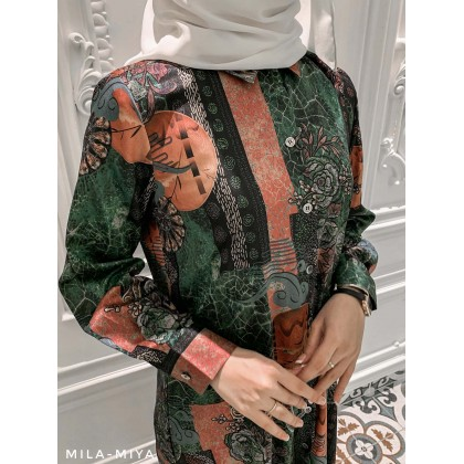 [MILA-MIYA] Tropical Print Button Up Long Tunic Dress- Forest Green