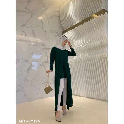 [MILA-MIYA] Slitting Long Dress- Dark Green