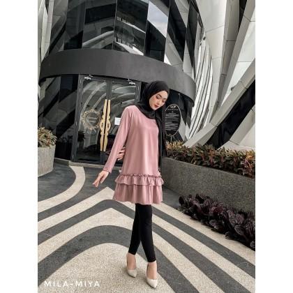 [MILA-MIYA] Ruffle Hem Tunic Dress- Rosy Brown / Dark Lavender