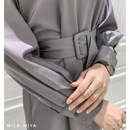 [MILA-MIYA] Ruched Belted Tunic- Rosy Brown / Dark Lavender